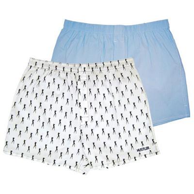 Комплект из 2 мужских трусов-шортов: голубые и белые с мелким рисунком