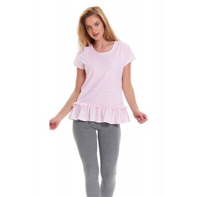 Хлопковая пижама с футболкой в полоску