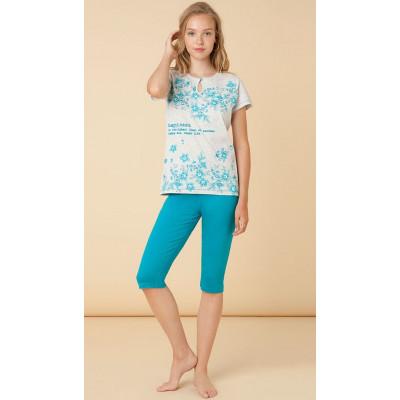Женская трикотажная пижама из хлопка с цветочным рисунком