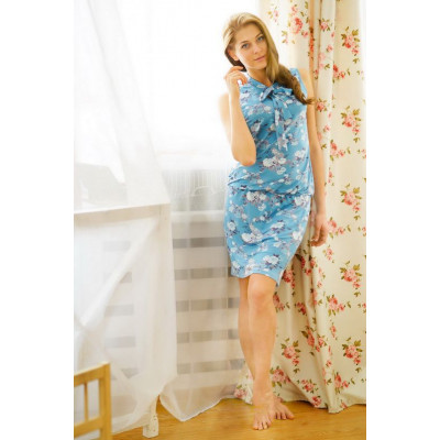 Очаровательное короткое домашнее платье с бантиком